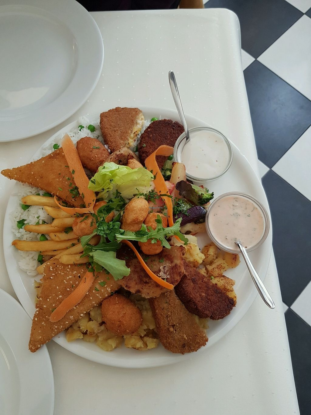 """Photo of Napfenyes Restaurant and Pastry Shop  by <a href=""""/members/profile/HeatherDonaldson"""">HeatherDonaldson</a> <br/>Vegan platter for 2 <br/> February 17, 2018  - <a href='/contact/abuse/image/18107/360275'>Report</a>"""