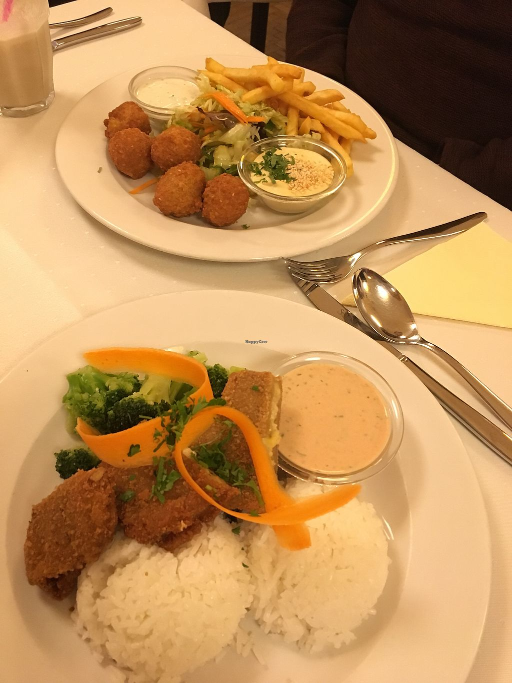 """Photo of Napfenyes Restaurant and Pastry Shop  by <a href=""""/members/profile/mnap"""">mnap</a> <br/>Seitan kiev (front), falafel platter (in the back) <br/> March 1, 2018  - <a href='/contact/abuse/image/18107/365520'>Report</a>"""
