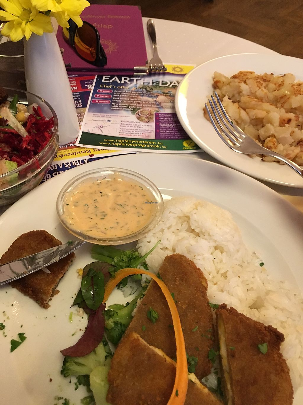 """Photo of Napfenyes Restaurant and Pastry Shop  by <a href=""""/members/profile/stefalmer"""">stefalmer</a> <br/>Stuffed breaded seitan kiev with thousands islands dressing; smashed potatoes <br/> April 23, 2018  - <a href='/contact/abuse/image/18107/390127'>Report</a>"""