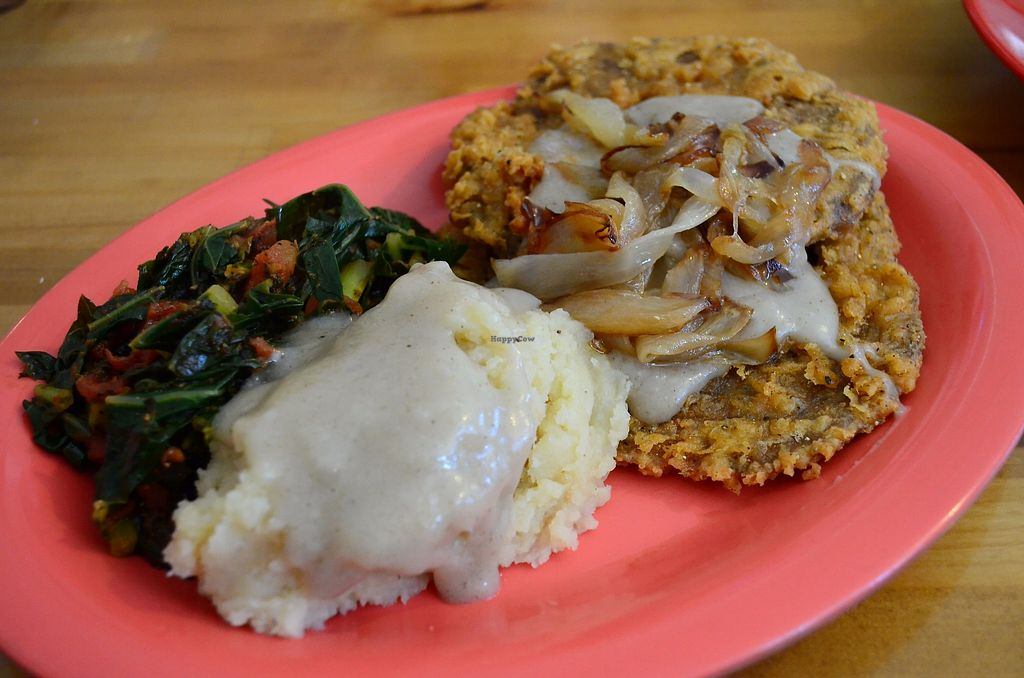 """Photo of Souley Vegan  by <a href=""""/members/profile/alexandra_vegan"""">alexandra_vegan</a> <br/>Mashed potatoes, sauteed chard, fried seitan & caramelized  onion. Delicious, but on the oily side <br/> September 2, 2017  - <a href='/contact/abuse/image/18109/299840'>Report</a>"""