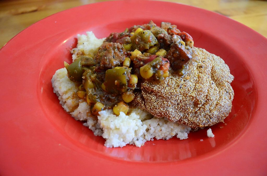 """Photo of Souley Vegan  by <a href=""""/members/profile/alexandra_vegan"""">alexandra_vegan</a> <br/>Grits, fried tofu, okra & corn stew - AMAZING, one of my favorite at Souley Vegan <br/> September 2, 2017  - <a href='/contact/abuse/image/18109/299841'>Report</a>"""