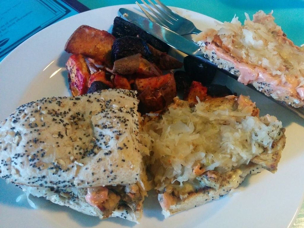 """Photo of Counter Culture  by <a href=""""/members/profile/MizzB"""">MizzB</a> <br/>Tempeh Reuben with kraut, side of roasted sweet potatoes and beets <br/> January 4, 2017  - <a href='/contact/abuse/image/18120/208069'>Report</a>"""