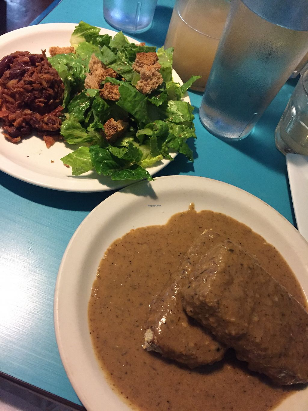 """Photo of Counter Culture  by <a href=""""/members/profile/EricaEff"""">EricaEff</a> <br/>Southern fried seitan with gravy, Caesar salad, and bbq jackfruit <br/> May 6, 2018  - <a href='/contact/abuse/image/18120/396250'>Report</a>"""