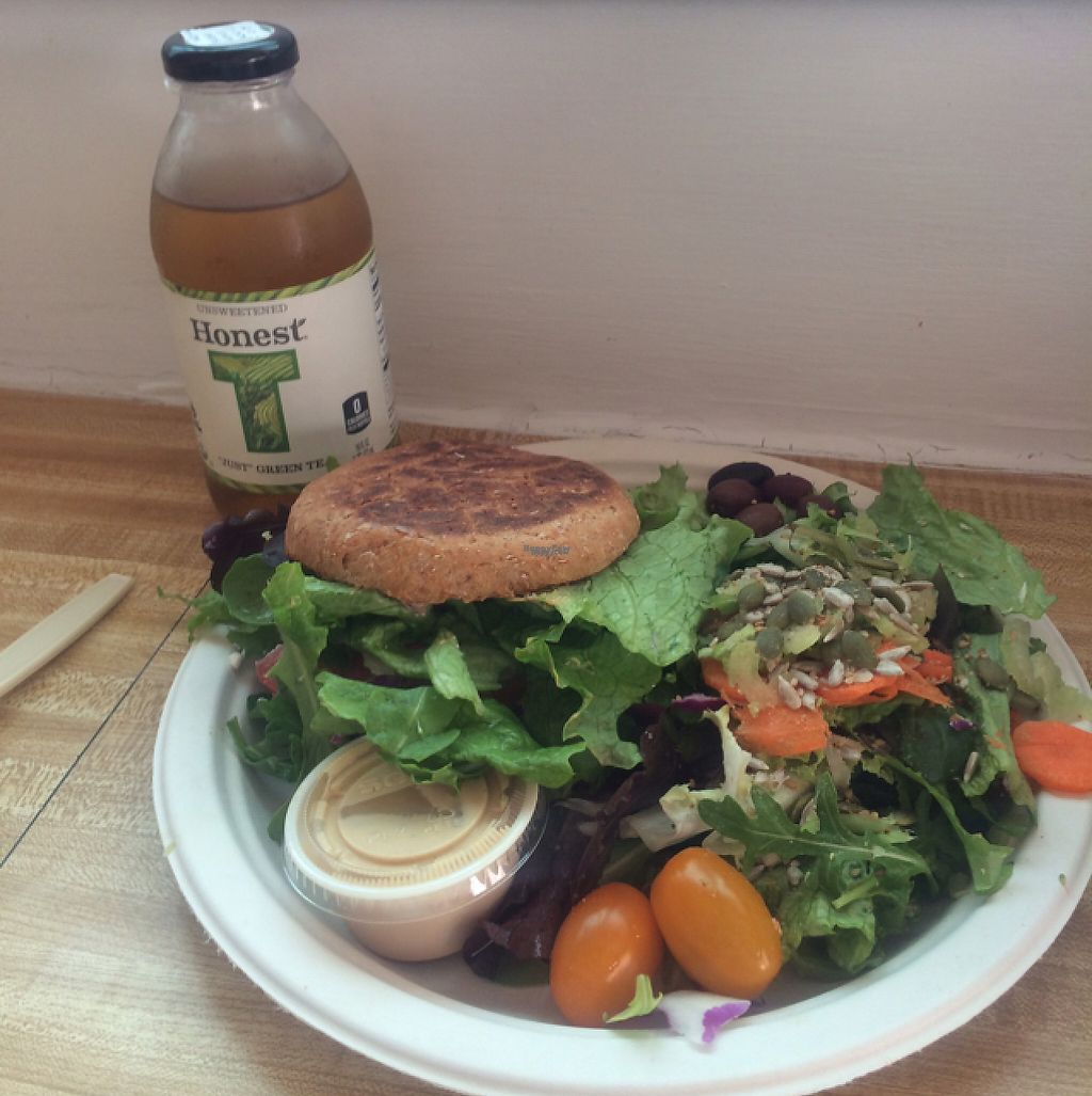 """Photo of Sugar Apple Juice Bar Cafe  by <a href=""""/members/profile/VeganDarling"""">VeganDarling</a> <br/>veggie burger  <br/> February 15, 2017  - <a href='/contact/abuse/image/1815/226948'>Report</a>"""