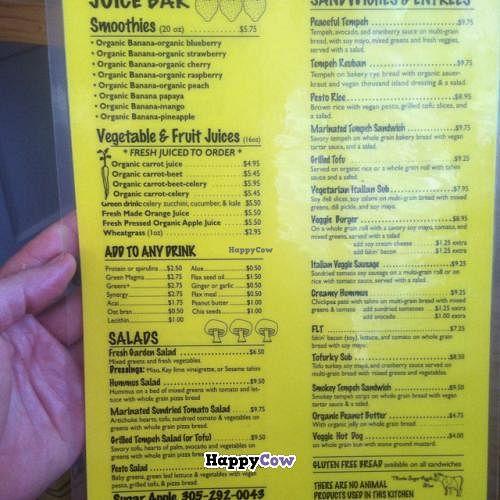 "Photo of Sugar Apple Juice Bar Cafe  by <a href=""/members/profile/Vegan%20Vagabond"">Vegan Vagabond</a> <br/>menu <br/> November 30, 2013  - <a href='/contact/abuse/image/1815/59436'>Report</a>"