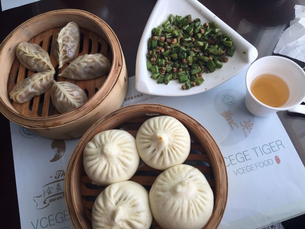 """Photo of SUHU - Vegetarian Tiger - Huayuan Building  by <a href=""""/members/profile/AnetteVegan"""">AnetteVegan</a> <br/>dumplings and green peas <br/> April 10, 2016  - <a href='/contact/abuse/image/18162/143785'>Report</a>"""