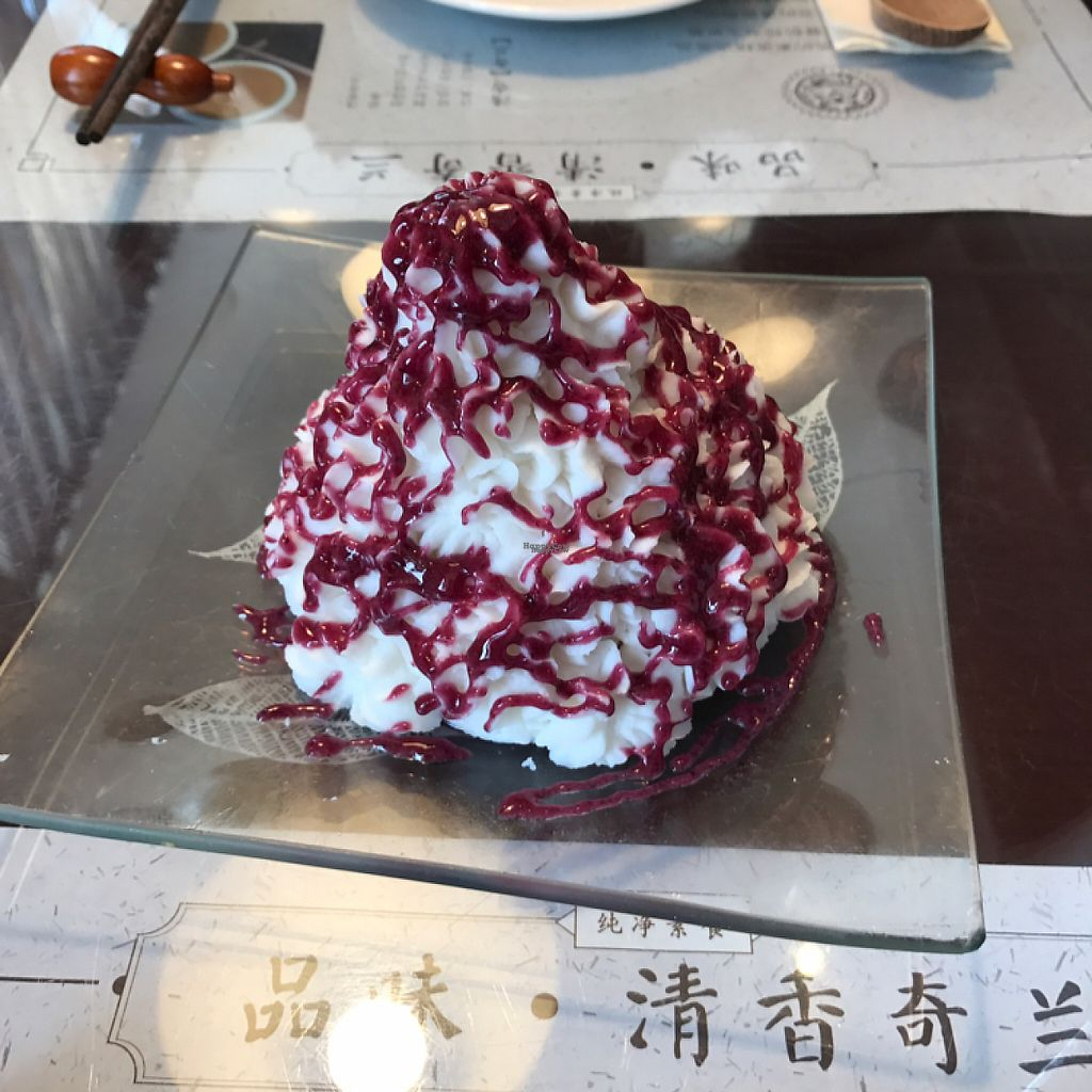 """Photo of SUHU - Vegetarian Tiger - Huayuan Building  by <a href=""""/members/profile/lindseymiller"""">lindseymiller</a> <br/>Chinese yam with blueberry jam- so big, couldn't finish it!  <br/> April 12, 2017  - <a href='/contact/abuse/image/18162/247357'>Report</a>"""