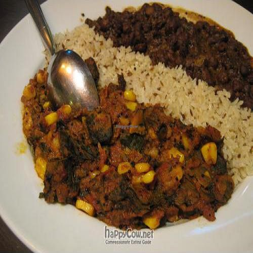 """Photo of Planet India  by <a href=""""/members/profile/cooking4vegans"""">cooking4vegans</a> <br/>Spicy black chickpeas, and a dish with vine leaves and sweetcorn <br/> September 25, 2010  - <a href='/contact/abuse/image/18188/5942'>Report</a>"""