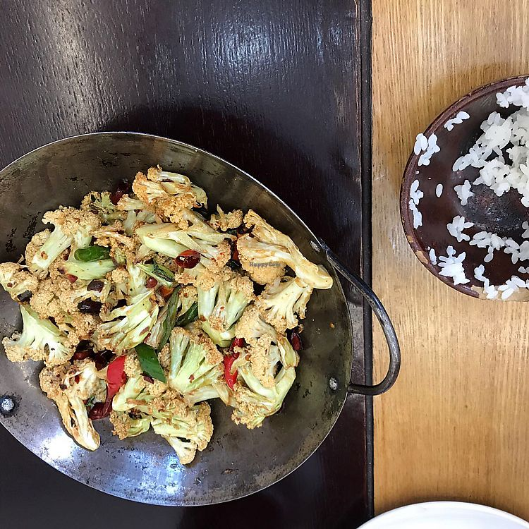 """Photo of Daxingshan Temple Vegetarian  by <a href=""""/members/profile/Bigna"""">Bigna</a> <br/>very spicy cauliflower and rice <br/> July 12, 2017  - <a href='/contact/abuse/image/18260/279415'>Report</a>"""