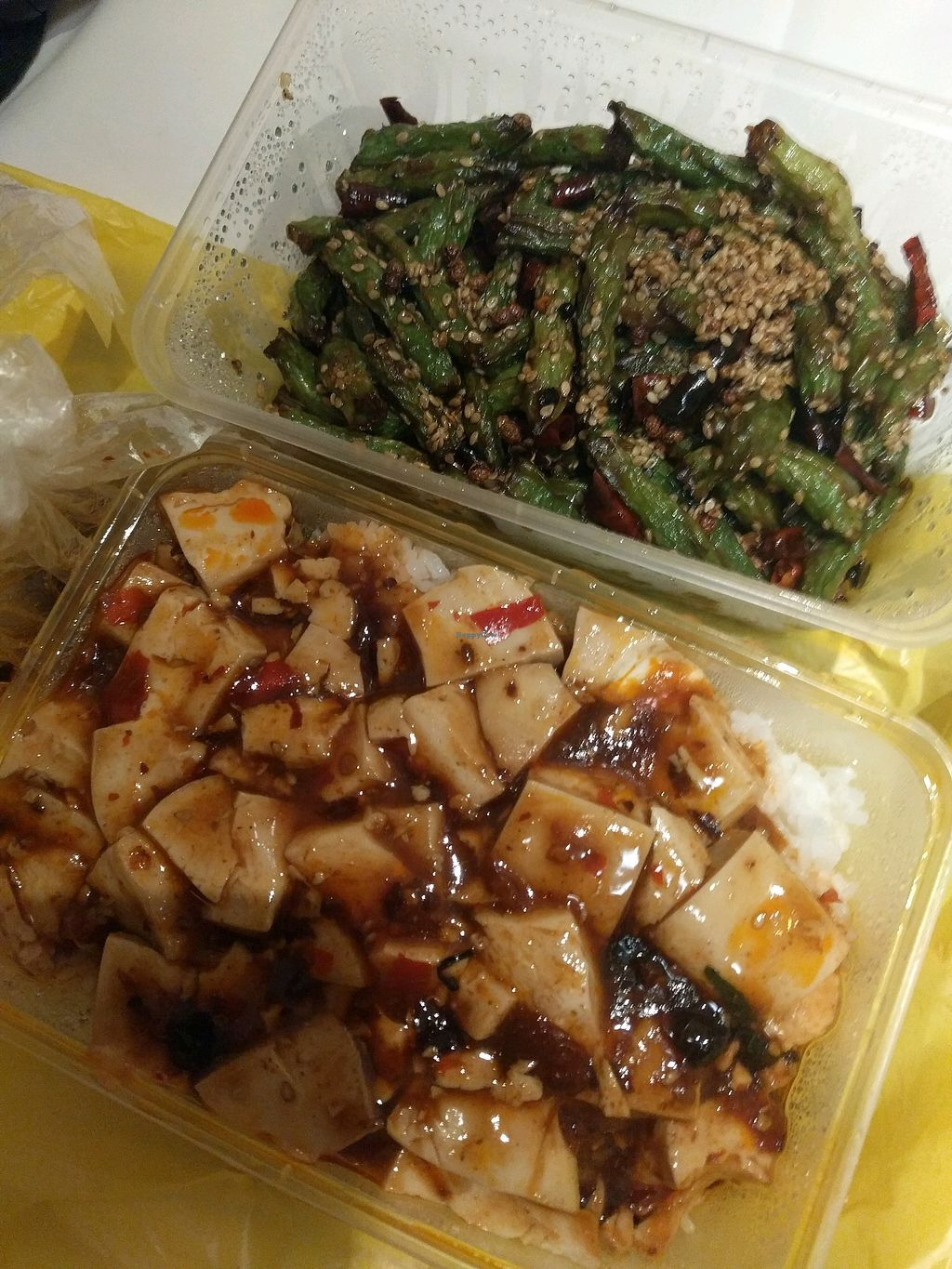 """Photo of Fu Yuan Ge Vegetarian Restaurant  by <a href=""""/members/profile/VeganSoapDude"""">VeganSoapDude</a> <br/>Delivery!  <br/> October 11, 2017  - <a href='/contact/abuse/image/18315/314171'>Report</a>"""