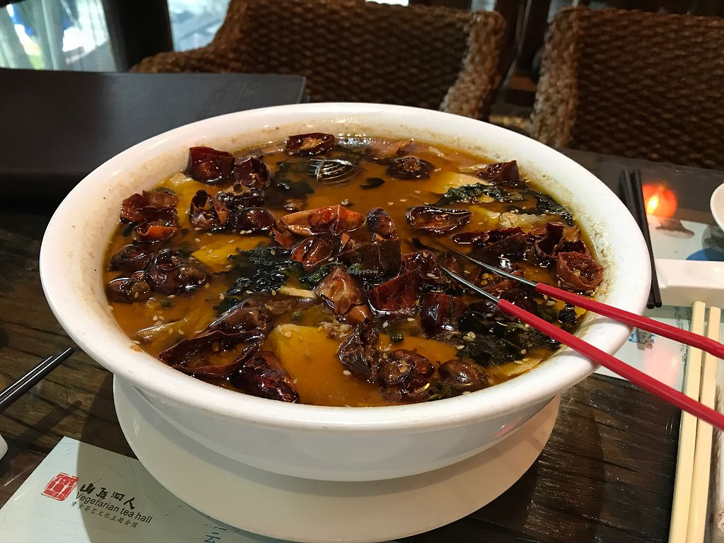 """Photo of Shan Ding Dong Ren - Caveman Vegetarian Teahouse  by <a href=""""/members/profile/VeganRambo"""">VeganRambo</a> <br/>This soup is really spicy but also really delicious.  <br/> July 19, 2017  - <a href='/contact/abuse/image/18363/281993'>Report</a>"""