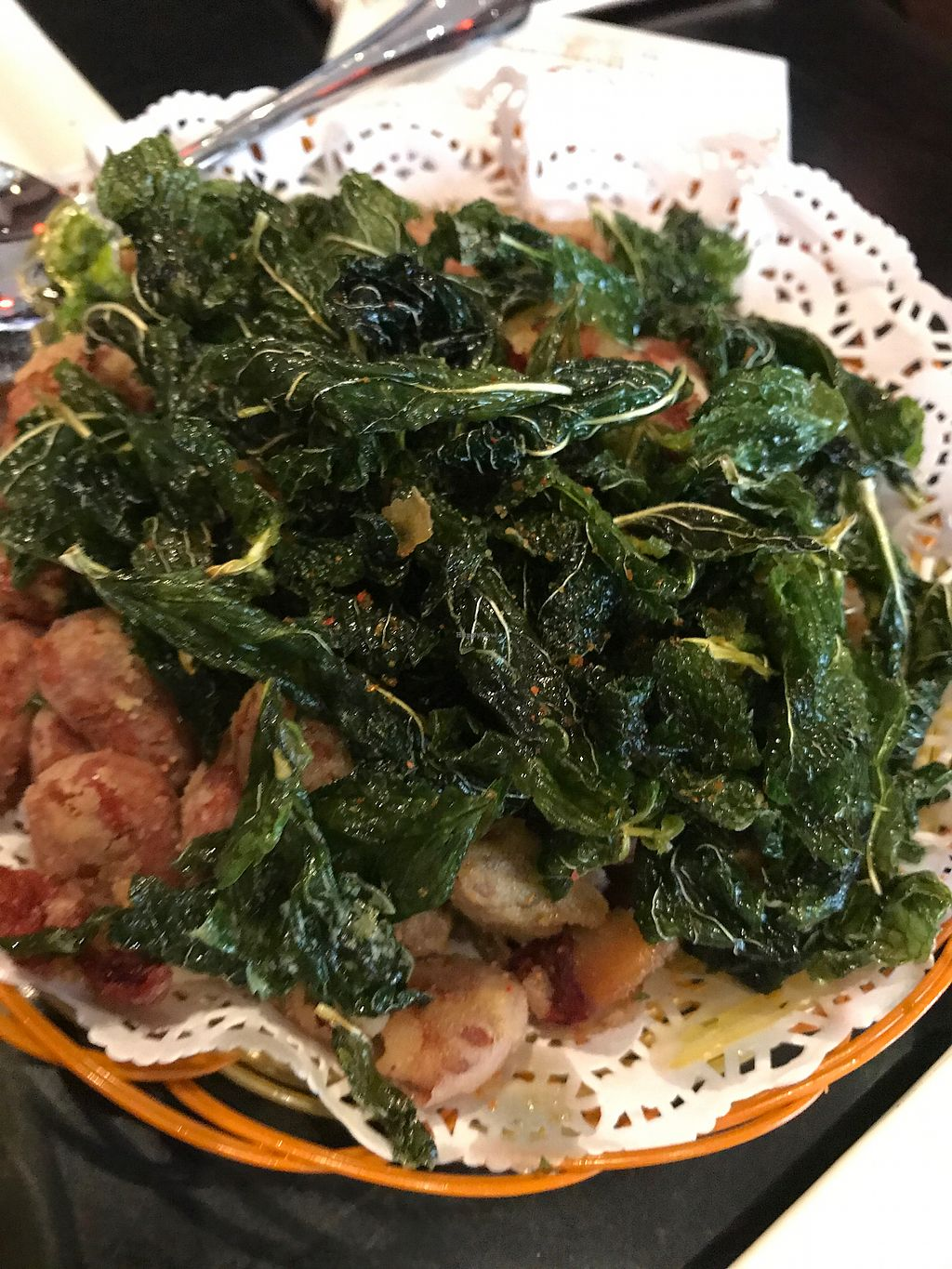 """Photo of Shan Ding Dong Ren - Caveman Vegetarian Teahouse  by <a href=""""/members/profile/VeganRambo"""">VeganRambo</a> <br/>Fried tea leaves and beans, so yummy  <br/> July 19, 2017  - <a href='/contact/abuse/image/18363/281995'>Report</a>"""