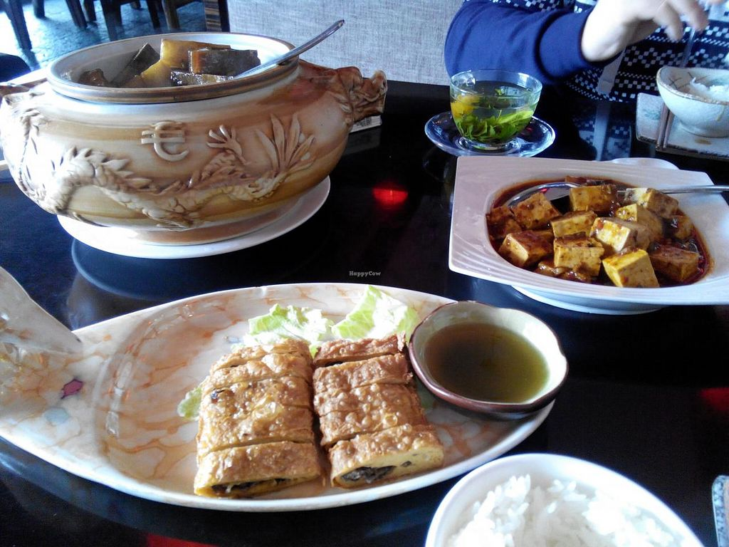 """Photo of Shan Ding Dong Ren - Caveman Vegetarian Teahouse  by <a href=""""/members/profile/CatharineMarie"""">CatharineMarie</a> <br/>Dongpo jar, tofu skin rolls and Mapo tofu <br/> January 23, 2014  - <a href='/contact/abuse/image/18363/62965'>Report</a>"""