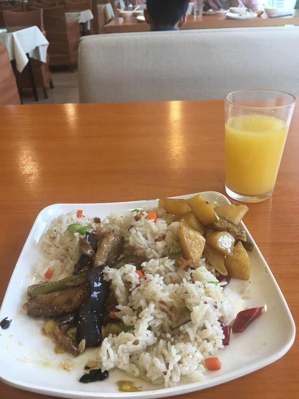 """Photo of Deng Pin Vegetarian  by <a href=""""/members/profile/BobbiChina"""">BobbiChina</a> <br/>Veggie fried rice, fried without egg, in sesame oil. An eggplant and asparagus dish and yummy potatoes! <br/> April 7, 2018  - <a href='/contact/abuse/image/18378/381896'>Report</a>"""
