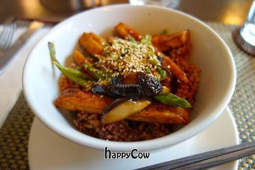"""Photo of Corner Tree Cafe  by <a href=""""/members/profile/Gudrun"""">Gudrun</a> <br/>Tofu Teriyaki with Sauteed Asparagus & Shiitake Mushrooms <br/> March 15, 2013  - <a href='/contact/abuse/image/18567/45459'>Report</a>"""