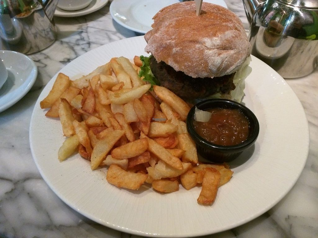 """Photo of Alpine Coffee Shop and Gallery  by <a href=""""/members/profile/tickleyfeet29"""">tickleyfeet29</a> <br/>Black bean burger with sweet chilli sauce and vegan cheese served with chippy-style chips and homemade Welsh chutney <br/> August 10, 2016  - <a href='/contact/abuse/image/18612/167568'>Report</a>"""