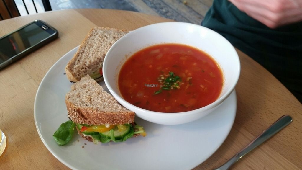 """Photo of Nourish  by <a href=""""/members/profile/Heliotropka"""">Heliotropka</a> <br/>Soup & sandwich  (tomato + chickpeas, salad and hummus) <br/> September 6, 2016  - <a href='/contact/abuse/image/18618/173953'>Report</a>"""