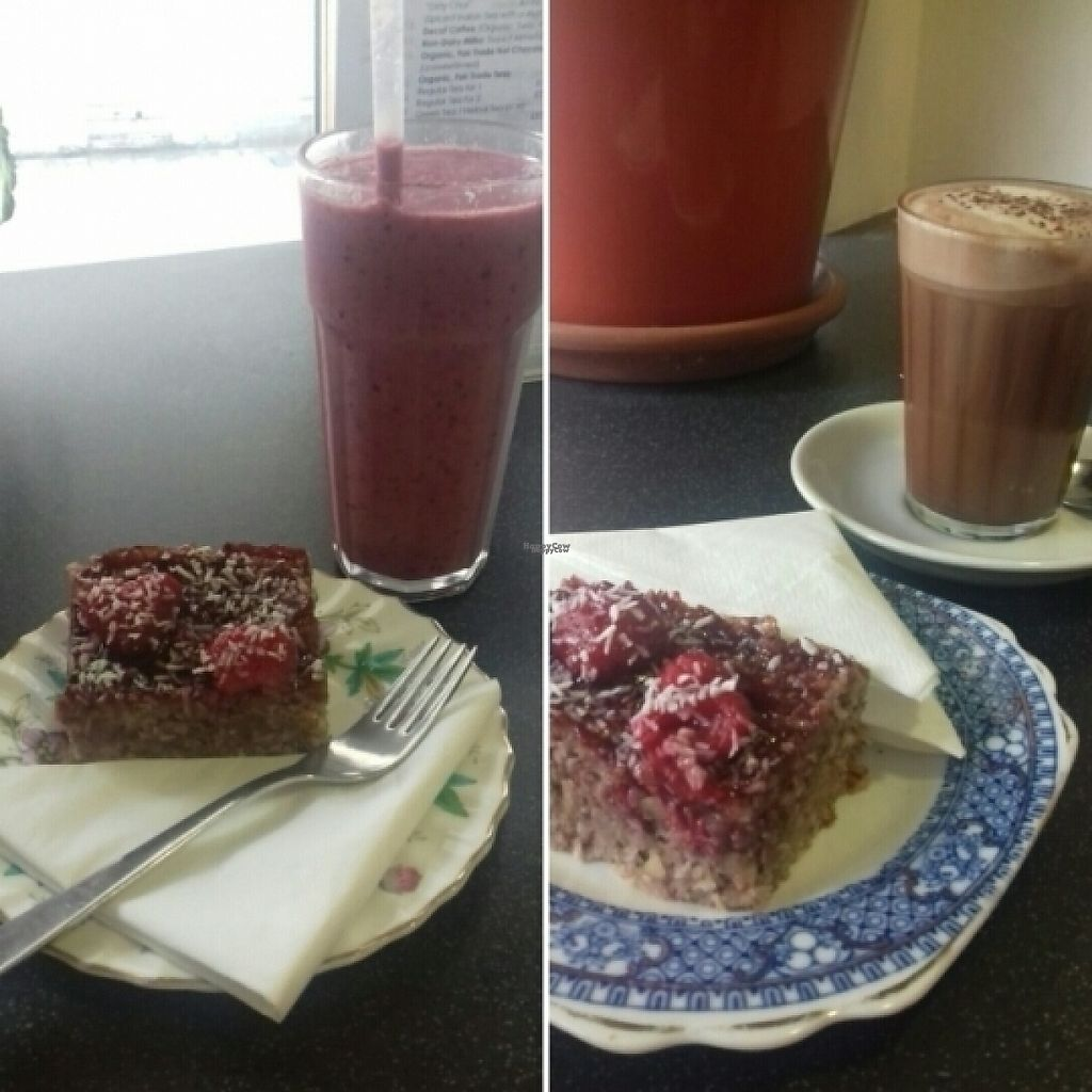 """Photo of Nourish  by <a href=""""/members/profile/Rebca_damson"""">Rebca_damson</a> <br/>cake, coffee and smoothie <br/> March 9, 2017  - <a href='/contact/abuse/image/18618/234582'>Report</a>"""