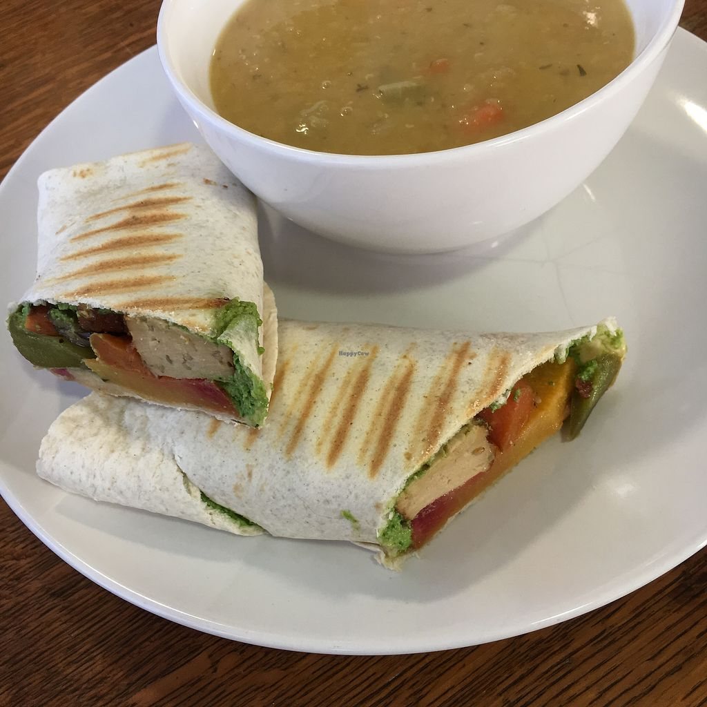 """Photo of Nourish  by <a href=""""/members/profile/RachaelHope"""">RachaelHope</a> <br/>Tofu, veg and pesto wrap with soup of the day <br/> February 13, 2018  - <a href='/contact/abuse/image/18618/358628'>Report</a>"""
