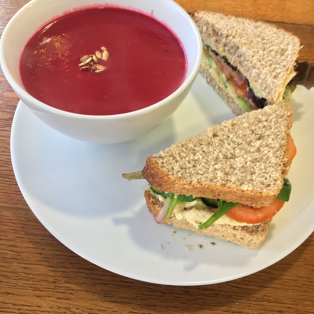 """Photo of Nourish  by <a href=""""/members/profile/RachaelHope"""">RachaelHope</a> <br/>Hummus and salad sandwich with beetroot, apple and ginger soup <br/> February 13, 2018  - <a href='/contact/abuse/image/18618/358629'>Report</a>"""