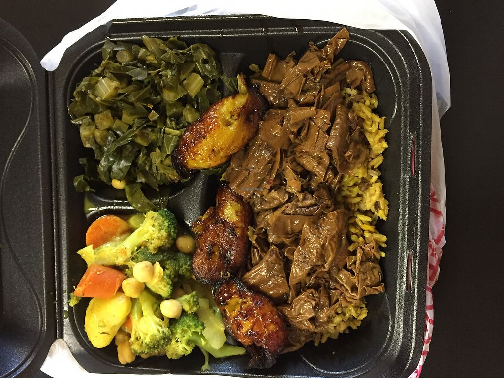 "Photo of Healthful Essence  by <a href=""/members/profile/aborig.khalifa"">aborig.khalifa</a> <br/>jerk ""un-duck"", brown rice, curry vegetables, and collards  <br/> August 28, 2017  - <a href='/contact/abuse/image/18639/298100'>Report</a>"