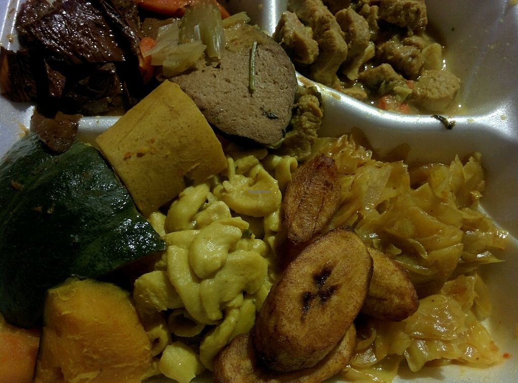 """Photo of Healthful Essence  by <a href=""""/members/profile/MizzB"""">MizzB</a> <br/>platter of good Vegan eating, BarBQ, seitan, curry, squash, mac & cheese, cabbage, plantain's <br/> October 27, 2017  - <a href='/contact/abuse/image/18639/319373'>Report</a>"""