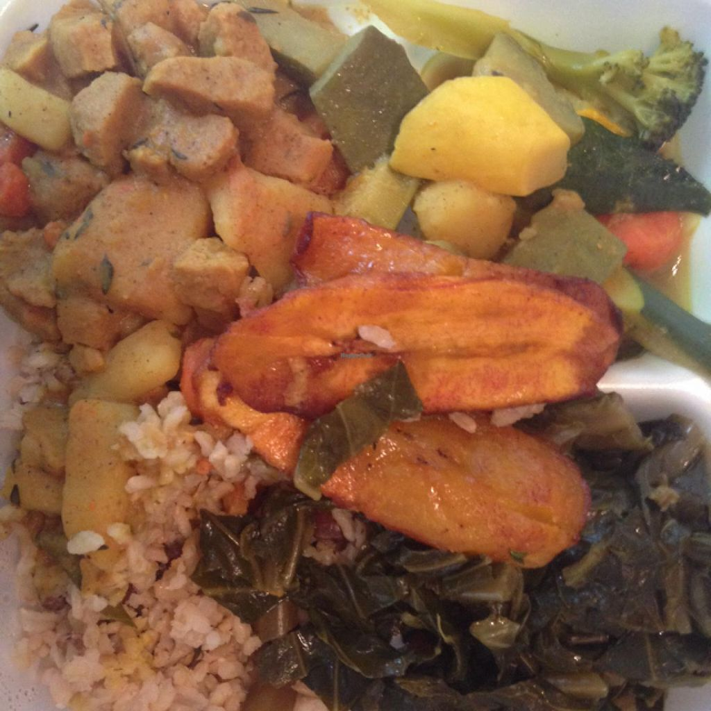"""Photo of Healthful Essence  by <a href=""""/members/profile/calamaestra"""">calamaestra</a> <br/>curry veggies and un-goat, plantains, rice and collard greens <br/> January 10, 2014  - <a href='/contact/abuse/image/18639/62268'>Report</a>"""