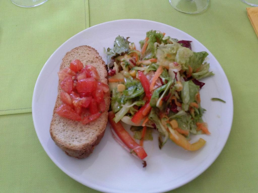 """Photo of CLOSED: Mondo Bio Cafe and Shop  by <a href=""""/members/profile/Sonja%20and%20Dirk"""">Sonja and Dirk</a> <br/>bruschetta and salad <br/> July 14, 2015  - <a href='/contact/abuse/image/18649/109258'>Report</a>"""