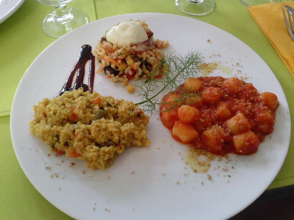 """Photo of CLOSED: Mondo Bio Cafe and Shop  by <a href=""""/members/profile/Sonja%20and%20Dirk"""">Sonja and Dirk</a> <br/>gnocchi with millet and couscous entrees <br/> July 14, 2015  - <a href='/contact/abuse/image/18649/109259'>Report</a>"""