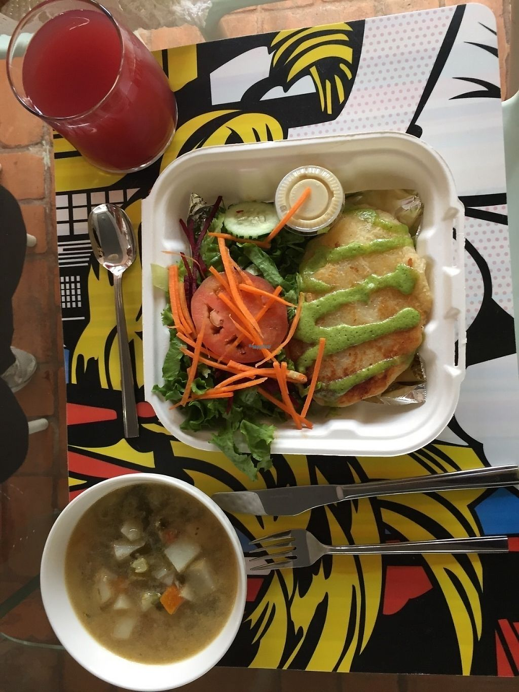 """Photo of Mantras Veggie Cafe and Tea House  by <a href=""""/members/profile/Longina"""">Longina</a> <br/>Daily special - vegetable soup, enyucado and cas/rosa de jamaica drink with side salad with cas dressing. Ordered for take out. Delicious <br/> January 15, 2017  - <a href='/contact/abuse/image/18650/212248'>Report</a>"""