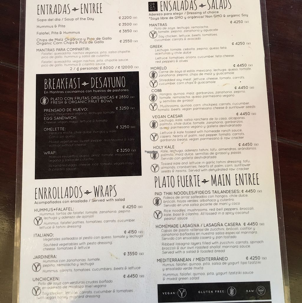 """Photo of Mantras Veggie Cafe and Tea House  by <a href=""""/members/profile/gwild"""">gwild</a> <br/>menu Jan 2017 <br/> January 28, 2017  - <a href='/contact/abuse/image/18650/218056'>Report</a>"""