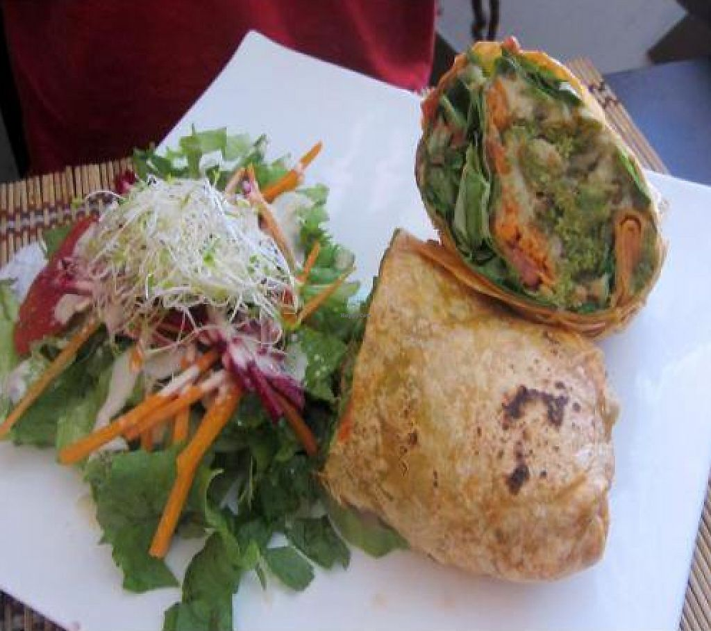 """Photo of Mantras Veggie Cafe and Tea House  by <a href=""""/members/profile/veganaperu"""">veganaperu</a> <br/>The Veggie Hummus Wrap is one of my favorite dishes at Mantras <br/> January 22, 2012  - <a href='/contact/abuse/image/18650/221286'>Report</a>"""