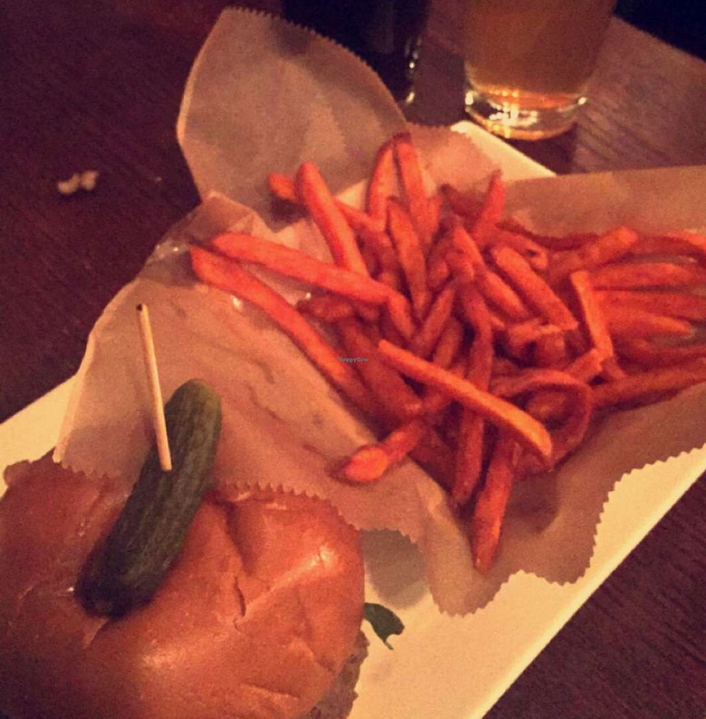 """Photo of Busboys and Poets - Mount Vernon Triangle  by <a href=""""/members/profile/Stephanie3366"""">Stephanie3366</a> <br/>vegan burger and sweet potato fries  <br/> March 2, 2016  - <a href='/contact/abuse/image/18672/138544'>Report</a>"""