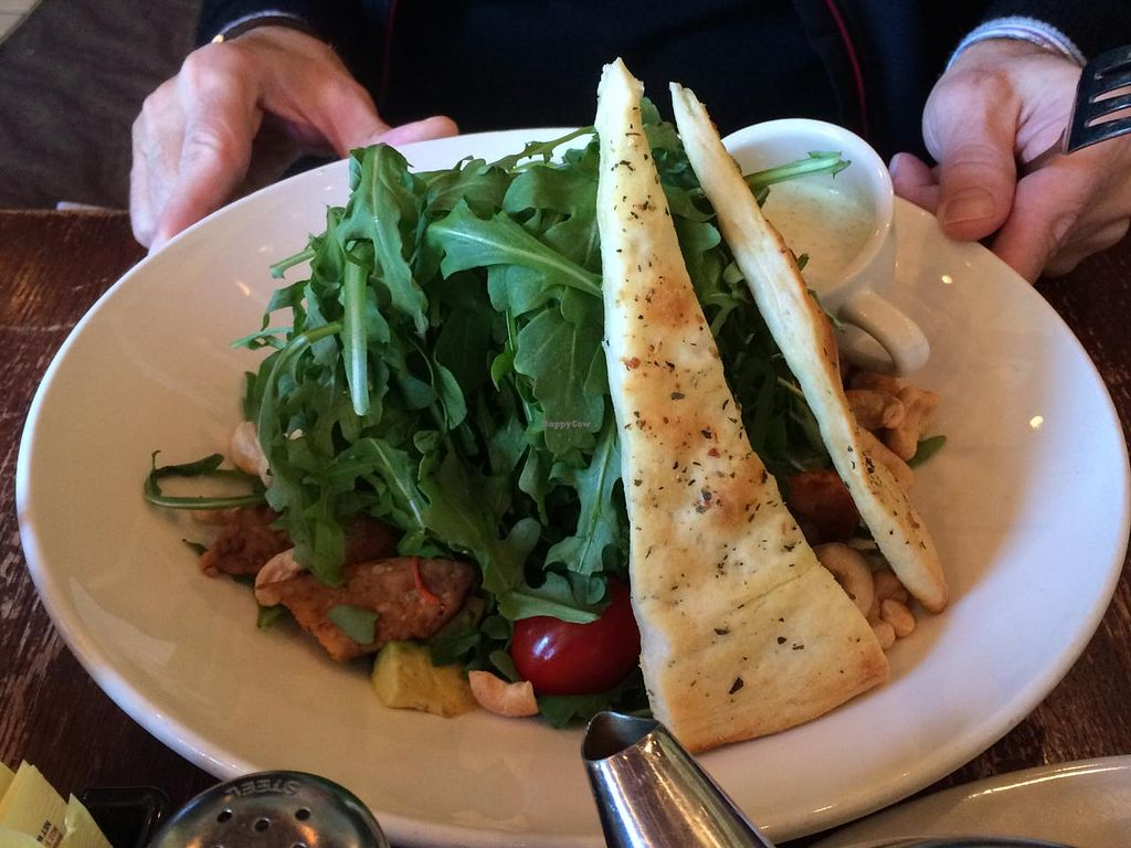 """Photo of Busboys and Poets - Mount Vernon Triangle  by <a href=""""/members/profile/luvs2EAT"""">luvs2EAT</a> <br/>Mock tuna sandwich, tofu scramble and field greens salad <br/> January 6, 2015  - <a href='/contact/abuse/image/18672/89667'>Report</a>"""