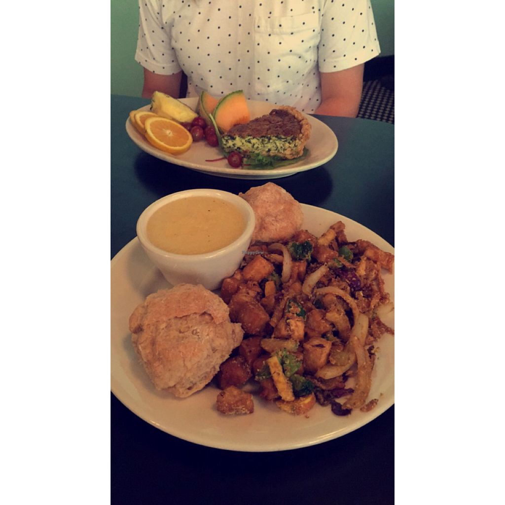 """Photo of The Grit  by <a href=""""/members/profile/natalie_uzee"""">natalie_uzee</a> <br/>my tofu & veggies w/ vegan biscuits & grits + Sara's quiche <br/> August 15, 2015  - <a href='/contact/abuse/image/1868/113667'>Report</a>"""