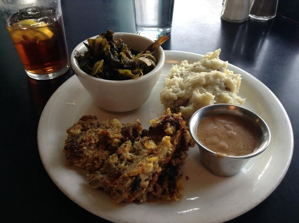 """Photo of The Grit  by <a href=""""/members/profile/Julie%20R"""">Julie R</a> <br/>My meal, a 3-veggie platter:  Collard greens, 'sausage' stuffing, and insanely delicious garlic mashed potatoes with gravy (I go for the stick-to-your-ribs kind of meal!).  Very good <br/> April 16, 2015  - <a href='/contact/abuse/image/1868/99250'>Report</a>"""