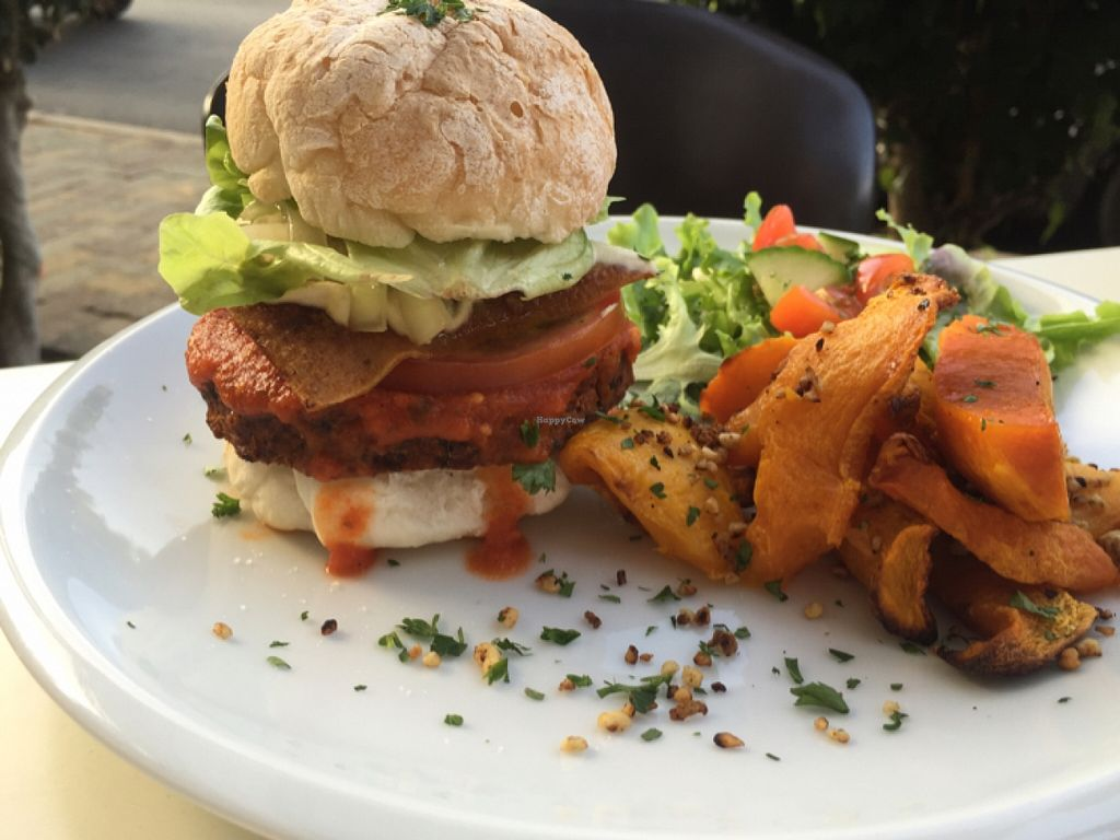 """Photo of The Greenside Cafe  by <a href=""""/members/profile/Nirankarkaur"""">Nirankarkaur</a> <br/>Bacon and cheese burger with pumpkin  <br/> March 5, 2016  - <a href='/contact/abuse/image/18707/138894'>Report</a>"""