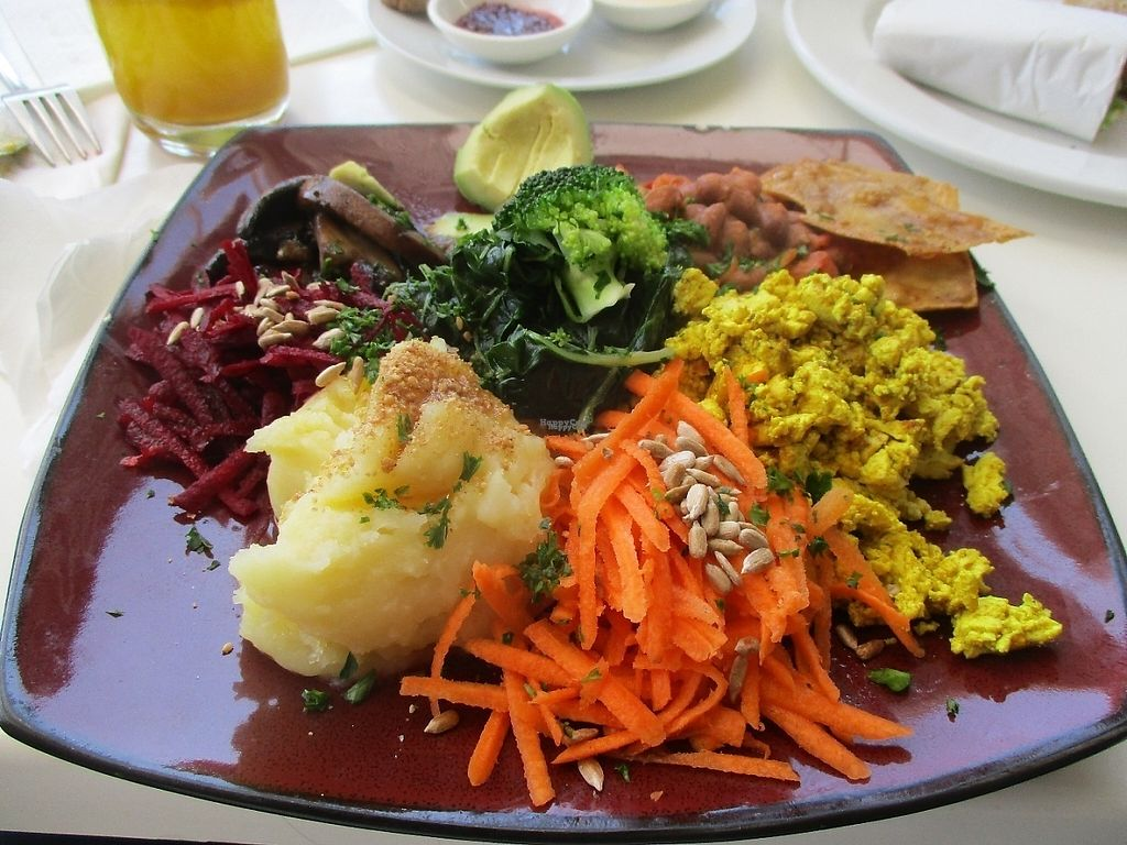 """Photo of The Greenside Cafe  by <a href=""""/members/profile/Wolfmoon"""">Wolfmoon</a> <br/>Full English Breakfast with mashed sweet potato, scrambled tofu, vacon and veggies <br/> April 16, 2017  - <a href='/contact/abuse/image/18707/248943'>Report</a>"""