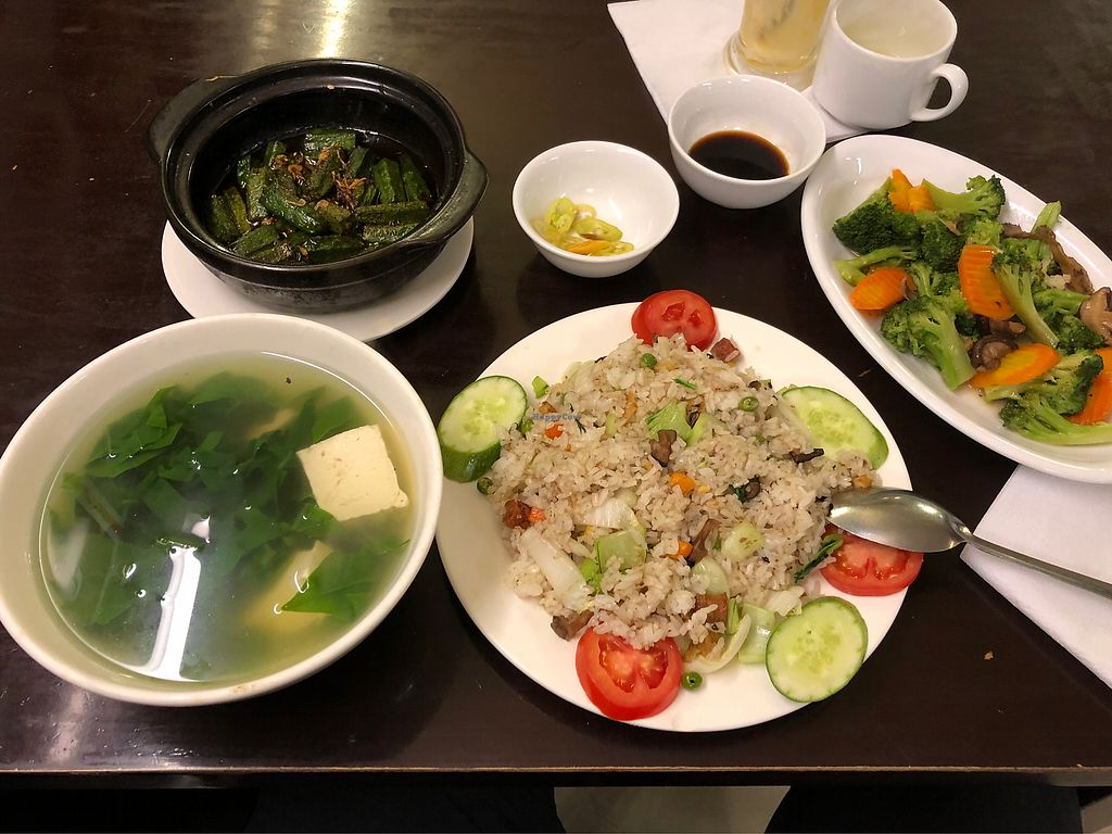 """Photo of Hoa Sen - Nha Hang Chay  by <a href=""""/members/profile/Earthling-Dirk"""">Earthling-Dirk</a> <br/>Vietnamese spinach soup, orca veg, rice with veg, vegetables and mushrooms  <br/> February 7, 2018  - <a href='/contact/abuse/image/18728/356001'>Report</a>"""