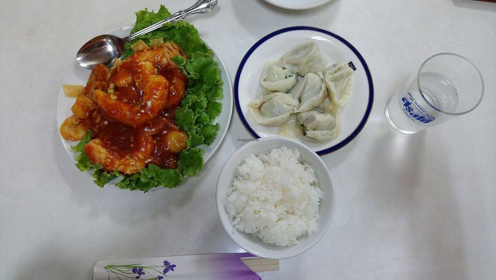 "Photo of Banwarou - Mimika  by <a href=""/members/profile/nekodrop"">nekodrop</a> <br/>Vegan shrimp chilli, steamed dumplings and rice <br/> September 3, 2017  - <a href='/contact/abuse/image/18741/300401'>Report</a>"