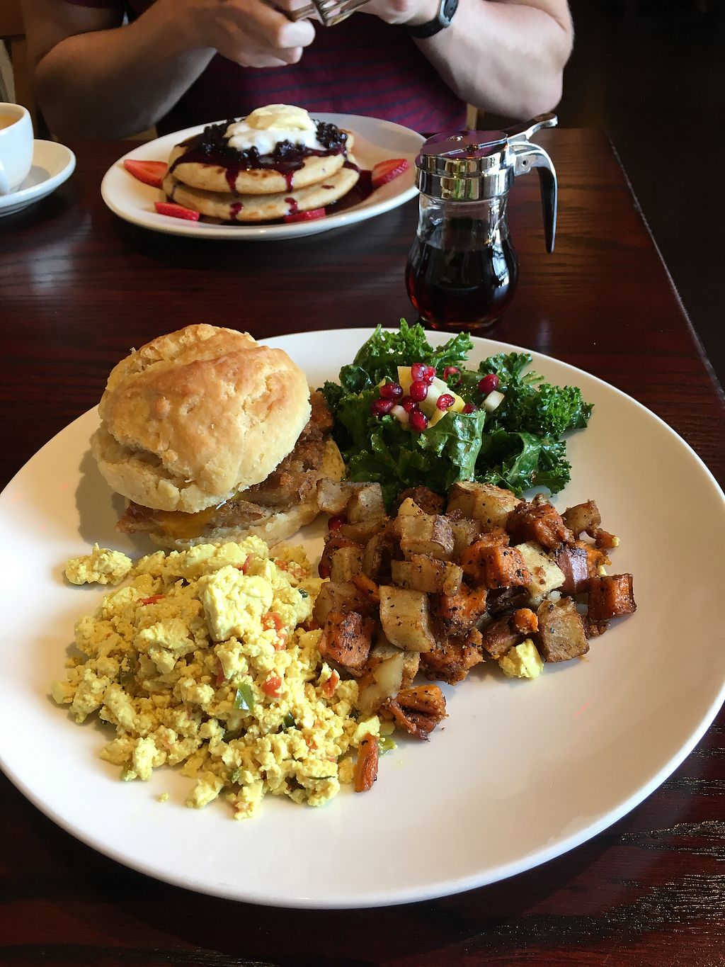 """Photo of Cafe Sunflower - Buckhead  by <a href=""""/members/profile/sarahpearcy"""">sarahpearcy</a> <br/>Seitan Chick'n Biscuit - Sunday Brunch Menu <br/> January 2, 2018  - <a href='/contact/abuse/image/1875/342145'>Report</a>"""