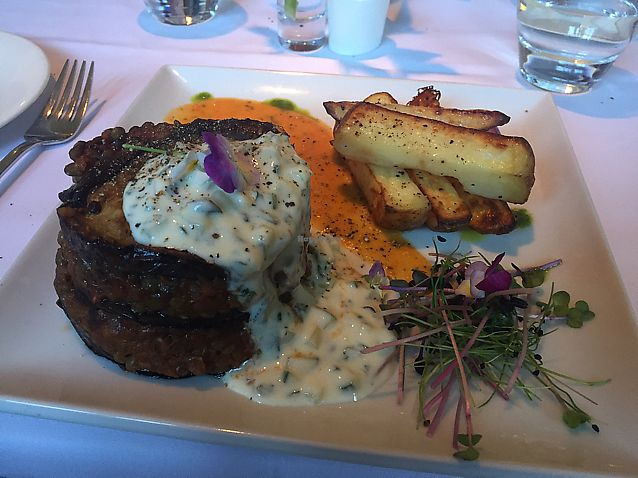 """Photo of Fellinis  by <a href=""""/members/profile/TheFlyingVegan"""">TheFlyingVegan</a> <br/>Vegan moussaka with soy tzaziki sauce <br/> June 19, 2017  - <a href='/contact/abuse/image/18792/271022'>Report</a>"""