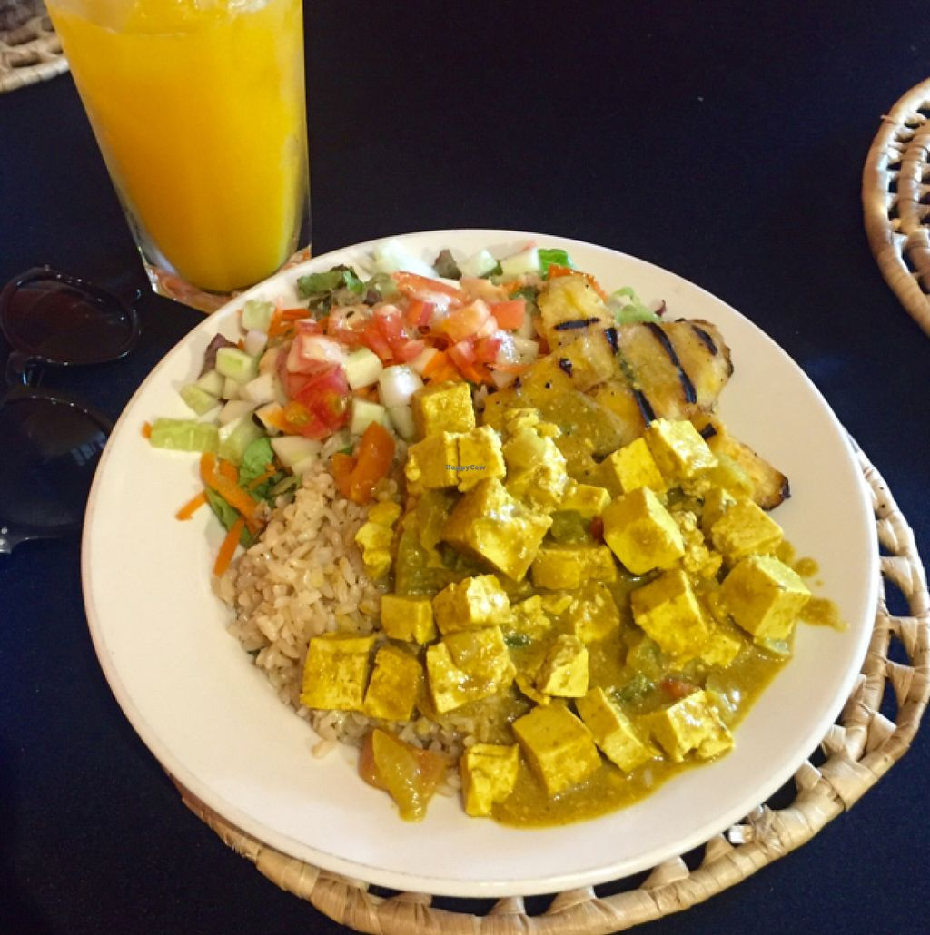 """Photo of The Good Life  by <a href=""""/members/profile/Cjlelliott"""">Cjlelliott</a> <br/>tofu Caribbean curry with plantain, salads and fresh squeezed juice <br/> July 3, 2016  - <a href='/contact/abuse/image/18860/157610'>Report</a>"""
