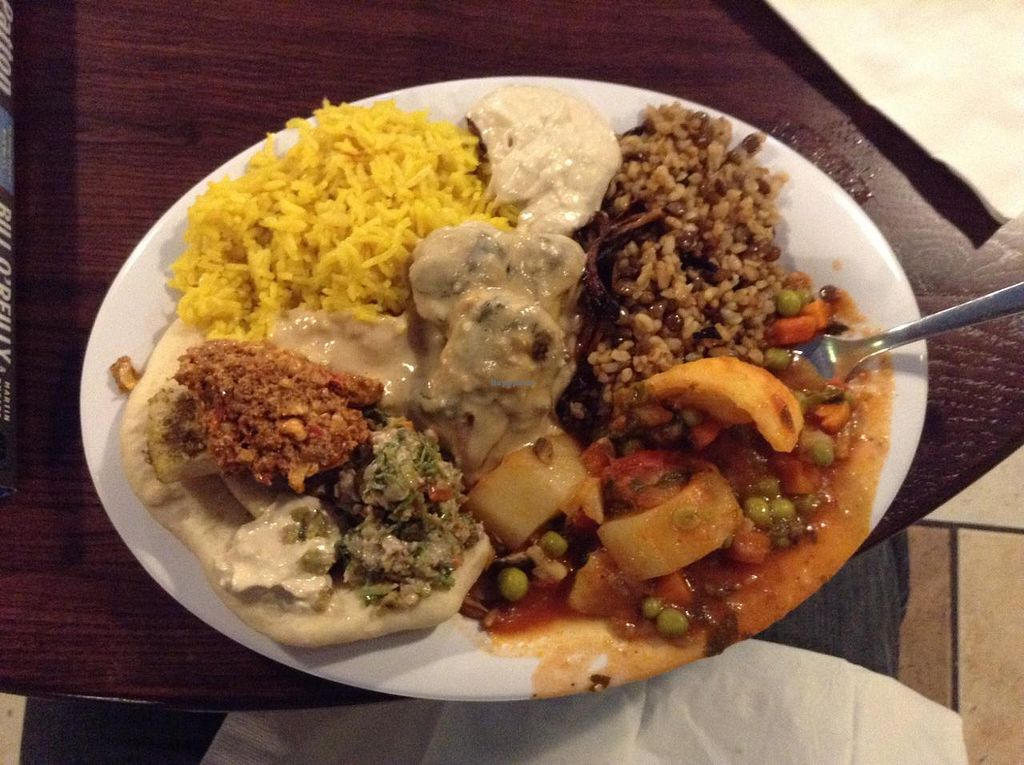 """Photo of Sanaa's 8th St. Gourmet  by <a href=""""/members/profile/plantbasedbill"""">plantbasedbill</a> <br/>Buffet selections.  The dark brown things in the light brown sauce are eggpant.  <br/> May 16, 2015  - <a href='/contact/abuse/image/18871/102466'>Report</a>"""