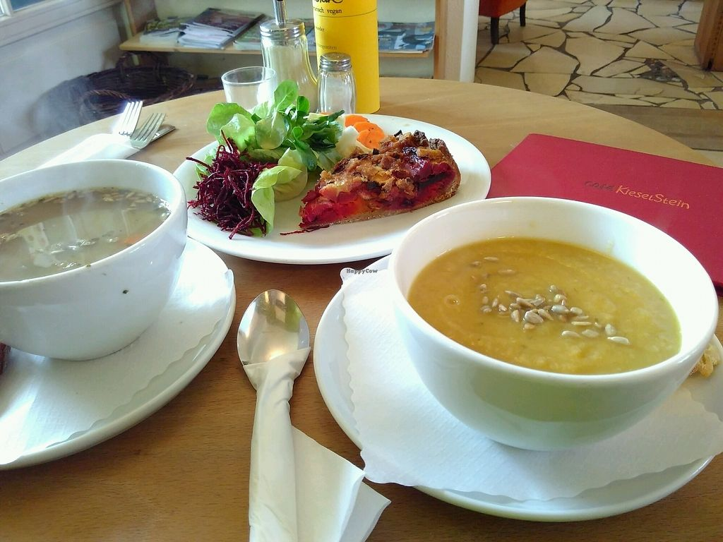 "Photo of Cafe Kieselstein  by <a href=""/members/profile/EmmyVD"">EmmyVD</a> <br/>Delicous parsnip cream soup, pea soup and vegan quiche with salad <br/> January 27, 2018  - <a href='/contact/abuse/image/18878/351466'>Report</a>"
