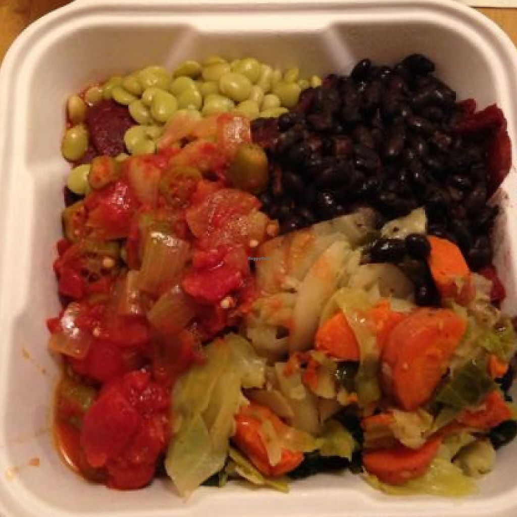 """Photo of Rainbow Natural Foods Market & Restaurant  by <a href=""""/members/profile/calamaestra"""">calamaestra</a> <br/>assortment of vegan foods in take-away box  <br/> September 9, 2013  - <a href='/contact/abuse/image/1887/198939'>Report</a>"""
