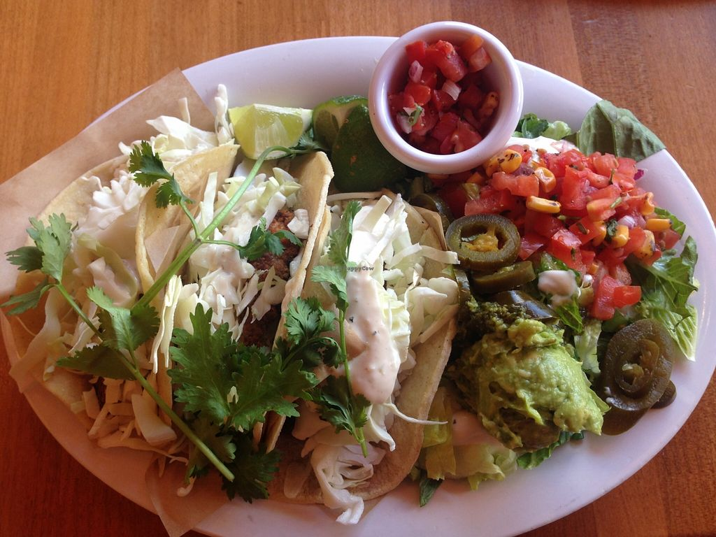 """Photo of Veggie Grill  by <a href=""""/members/profile/Alysoun%20Mahoney"""">Alysoun Mahoney</a> <br/>'Tres 'Fish' Tacos' <br/> October 4, 2015  - <a href='/contact/abuse/image/18882/120202'>Report</a>"""