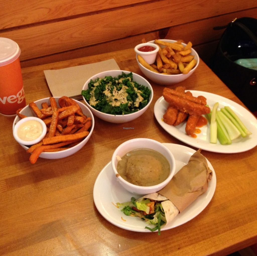 """Photo of Veggie Grill  by <a href=""""/members/profile/Tigra220"""">Tigra220</a> <br/>Sweetheart fries, kale salad, buffalo wings, Yukon fries, mini Mexi wrap, and mashed cauli-potatoes <br/> October 26, 2015  - <a href='/contact/abuse/image/18882/122802'>Report</a>"""