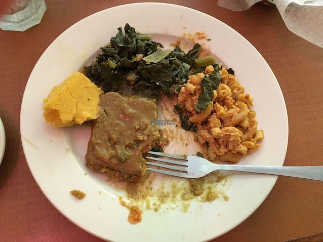 "Photo of Soul Vegetarian - Highland  by <a href=""/members/profile/meredith"">meredith</a> <br/>country baked steak, mac and cheese, collards, cornbread  <br/> October 9, 2016  - <a href='/contact/abuse/image/1890/180901'>Report</a>"