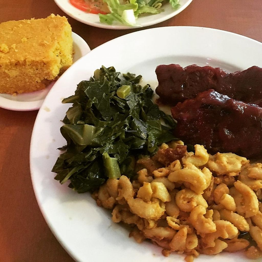 "Photo of Soul Vegetarian - Highland  by <a href=""/members/profile/RooSchu"">RooSchu</a> <br/>Kalebone twists, mac and cheese, collards, and cornbread <br/> May 16, 2018  - <a href='/contact/abuse/image/1890/400396'>Report</a>"